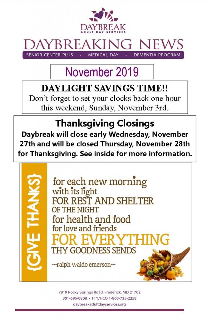 November Newsletter Cover 2019